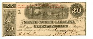 1863   $20   Raleigh,  North Carolina.   Southern States Currency     CR#121