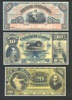 Collection PRIVATE BANKNOTES made by ABCo for CHILE Facsimile. Edition.154 Notes