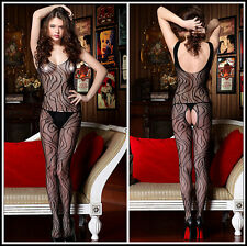 CATSUIT BODY COLLANT SEXY RESILLE PETITE MAILLE FILET MOTIFS NOIR BODYSTOCKING