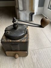 Vintage French Red Laquer Peugeot Freres Coffee Hand Grinder Metal & Wood Retro