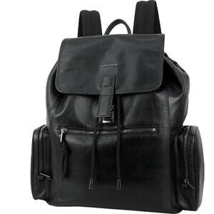 Auth DIOR HOMME Backpack Leather Black Men Shoulder bag