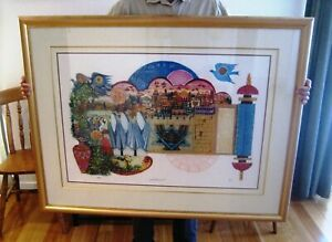 Large Amram Ebgi Salute To Israel Hand Coloured Lithograph Copper Insets Judaica