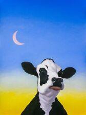 "Cow Moon 10""x13 1/2"" Farm Fine Folk Art Giclee Print Signed Americana Artsy Blue"