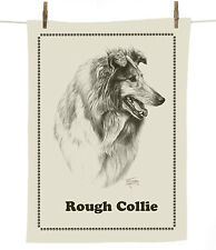 Mike Sibley Rough Collie dog breed cotton tea towel - dog lover gift