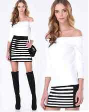NWT bebe white roxanned rib off shoulder peplum cutout dress top S small sexy