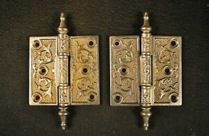 2 ORNATE ANTIQUE VICTORIAN / EASTLAKE 3 1/2 INCH IRON STEEPLE TIP DOOR HINGES
