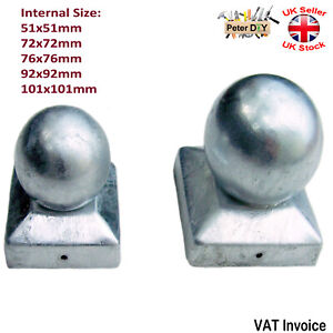 GALVANISED SQUARE Metal Fence Gate Post Cap Caps Flange Size51 to 101mm BALL TOP