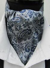 Mens Silver Grey & Royal Blue Paisley Satin Ascot Cravat & Pocket Square-UK Made