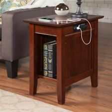 Chair Side End Table with 2 USB Charging Ports and 2 AC Outlets Walnut Finish