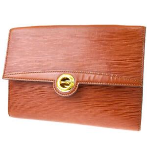 Auth Louis Vuitton Epi Pochette Arche M52573 Clutch Bag Kenyan Brown 01GC871