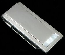 VTG COLIBRI LONDON STAINLESS STEEL MONEY CLIP MOTHER OF PEARL STERLING SILVER !