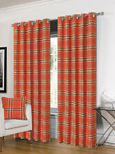 Luxurious Ring Top Eyelet Lined Plaid Check Ready Made Curtain Pair - 5 Colours Orange 66 X 90 Inches