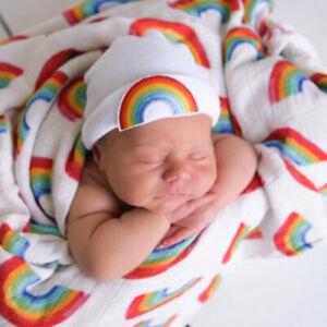 Rainbow baby hat, shower gift, newborn, unisex, white hat,