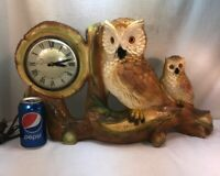 Vtg 1950-60's Chalkware Lanshire Clock Owl Mom Or Dad One Baby Family Cabin Farm