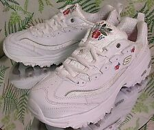 SKECHERS WHITE LEATHER PINK FLORAL SNEAKERS WALKING SHOES US WOMENS SZ 9.5 WIDE