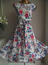 Vestido de verano MONSOON Azul Rojo Floral años 50 Rockabilly Vintage Baile de graduación Ajuste N FLARE 22