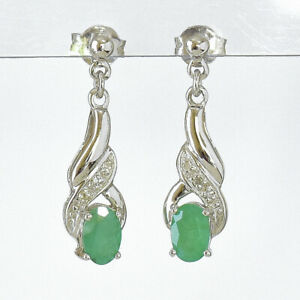 NATURAL EMERALD EARRINGS REAL DIAMONDS 9K WHITE GOLD DROPS MAY BIRTHSTONE NEW