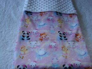 Elephants Giraffes & Pandas Pink Reversible White Minky Handmade Blanket