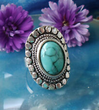 Ring in Vintage Style with Turquoise Coloured Stone Tibet Silver Oval Form