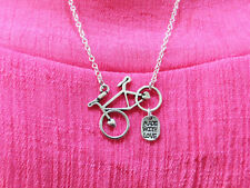 Bicycle made with Love silver necklace pendant,antique handmade chain necklace.