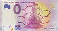 BILLET 0  EURO DEUTSCHES DRAHTMUSEUM ALTENA ALLEMAGNE 2017  NUMERO DIVERS