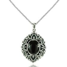 Oxidized Vintage Bali Inspired Oval Simulated Onyx Necklace in 925 Silver
