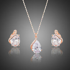 Rose Gold Bridal Earrings & Pendant Necklace Jewelry Sets Cubic Zirconia Stones