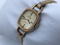 Vintage Rare Helbros Ladies Watch Gold Tone Analog 17 Jewels Hand Winding Mech