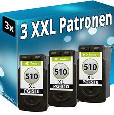 3x XL DRUCKER PATRONE für CANON PG-510  PIXMA MP490 MP250 MP280 MP495 MP270