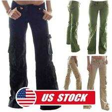 Women's Casual Straight Long Cargo Pants Loose Pocket Overalls Wide Leg Trousers