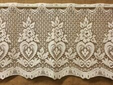 Lace Window Valance Ivory Hearts and Roses Kitchen Bedroom Kitchen