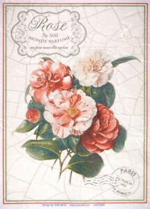 Rice Paper for Decoupage Scrapbook Craft Red roses with crackle large