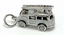 VINTAGE SILVER MOVABLE FIRE ENGINE WITH LADDER CHARM