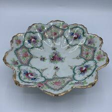 Antique Porcelain China Nippon Hand Painted Floral Three Footed Dish