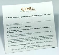 EBEL Worldwide Registration Card for Protetion Against Theft or Loss Beluga BTR
