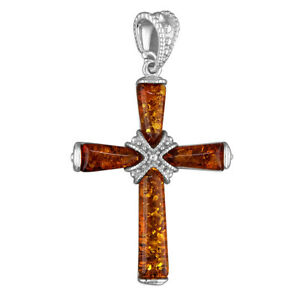 Cross Pendant Sterling Silver.925 -  Cognac Baltic Amber Strapped -