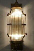 Antique Vintage Art Deco Brass & Glass Rod Ship Light Wall Sconces Lamp