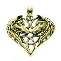 Keltische Wölfe Anhänger Bronze Symbol Schmuck - NEU