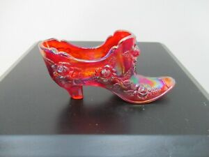 Fenton Vintage Red Carnival Glass Shoe Boot Red Roses