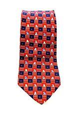 Tommy Hilfiger Men's Tie Red White Blue Puppy Dog Necktie 100% Silk