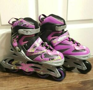 Girls Inline Adjustable Skates 34-37 UK 1.5 to 4.5 - Pink/Purple, Black, Green