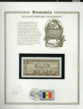 Romania 1966 P 91 1 Leu UNC with UN FDI FLAG STAMP Serie E.0037