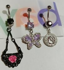 Lot of 3 Belly Button Ring Dangle Navel Set Piercing Jewelry Hearts Butterfly