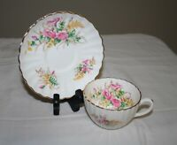 Vintage Radfords Bone China Cup & Saucer - England - Ribbed Scalloped Floral