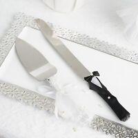 Wedding Silver Stainless Steel Knife and Server Bride Groom Cake Serving Set