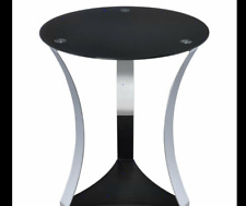 Round Accent End Table Black Glass Top Metal Base Lamp Condition New