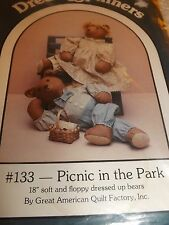 """Dream Spinners #133 Sewing Pattern """"Picnic In The Park"""" to make 18"""" Bears 1986"""