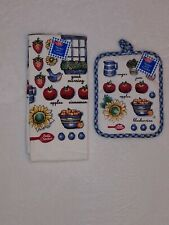 Betty Crocker - GOOD MORNING - Towel & Pot Holder Set - Apples Baking Sunflower
