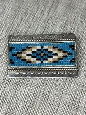 Vintage Navajo Glass Bead Sterling Silver Pin Old Pawn Singed GALLUP John Delvin