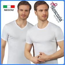 Maglietta intima in filo di scozia da uomo maglia intimo scollo a v girocollo